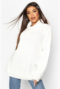Cream Roll Neck Oversized Jumper