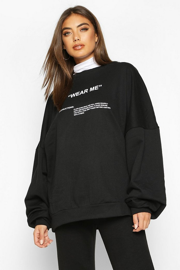 Premium Oversized 'Wear Me' Slogan Sweatshirt | Boohoo UK