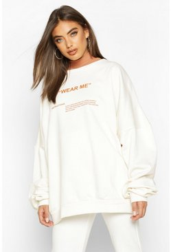 Cream Premium Oversized 'Wear Me' Slogan Sweatshirt