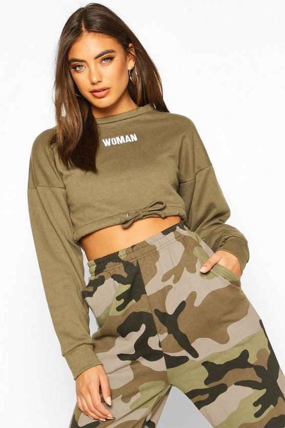 Womens Khaki Premium Cropped Ruched Hem Embroidered Sweatshirt