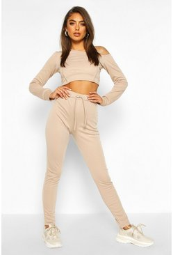 Womens Sand Premium Seam Cup Detail Crop Off The Shoulder Tracksuit