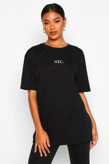 Womens Black NYC Micro Slogan Print T-Shirt