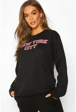 Black New York City Slogan Print Sweatshirt