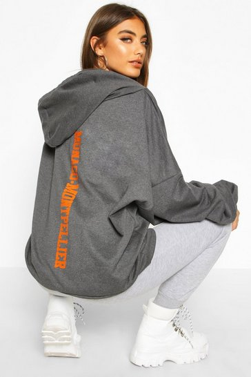 Womens Slate Premium Extreme Oversize Back Print Hoodie