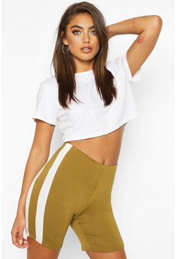 Olive Double Side Stripe Cycling Shorts
