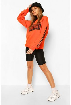 Orange Woman Barcodes Print Sweatshirt