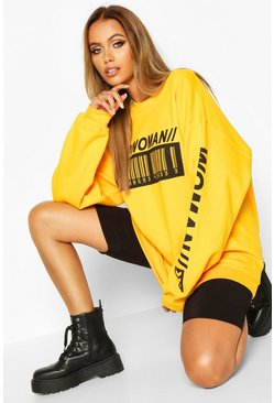"Yellow ""Woman"" sweatshirt med streckkod"