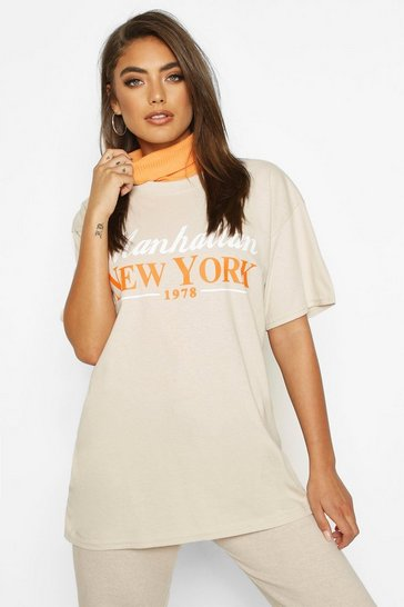 Womens Sand Manhattan New York Slogan T-Shirt