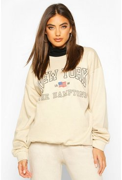 Womens Sand New York Slogan Sweatshirt