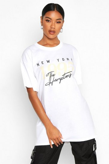 Womens White The Hamptons Graphic Slogan Oversized T-Shirt