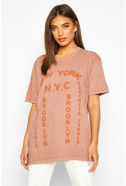 Womens Terracotta Washed New York Graphic Print T-Shirt