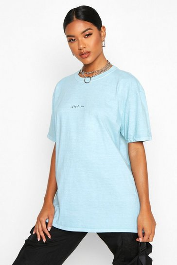 Womens Blue Woman Micro Slogan Washed Oversized T-Shirt