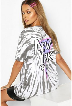 Womens Charcoal Tie Dye Back Print New York T-Shirt