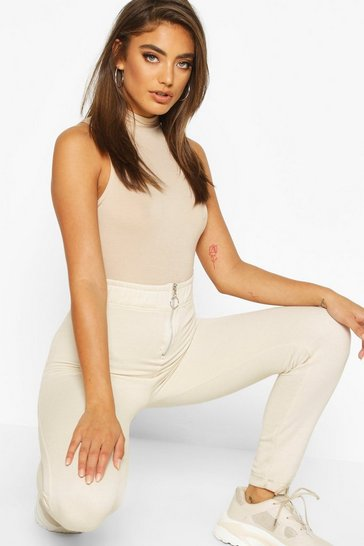 Womens Ecru Crew Neck Sleeveless Bodysuit