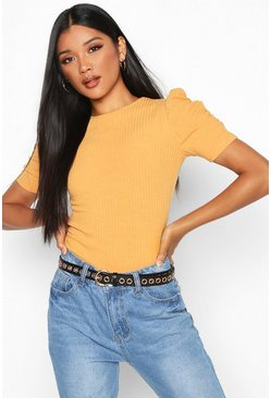Womens Mustard Rib Knit Puff Sleeve Top
