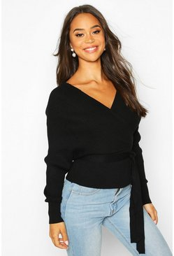 Womens Black Rib Knit Wrap Detail Belted Jumper