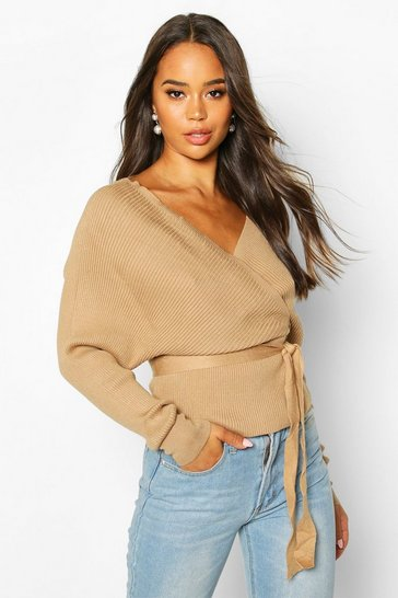 Womens Camel Rib Knit Wrap Detail Belted Jumper