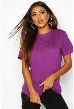 Purple Foil Woman Script Print T-Shirt