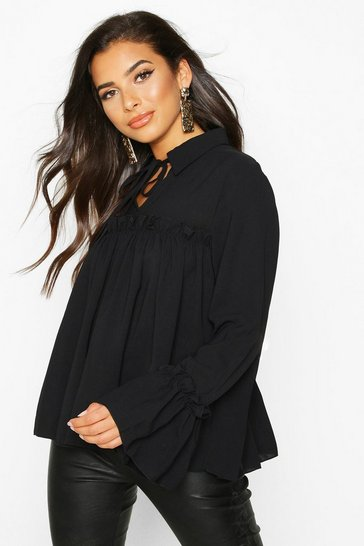 Womens Black Tie Front Ruffle Detail Woven Smock Top