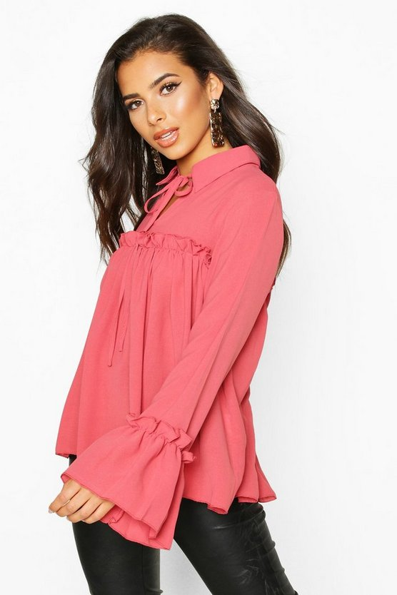 Womens Rose Tie Front Ruffle Detail Woven Smock Top