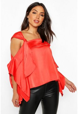 Red Satin Knot Detail Cold Shoulder Top