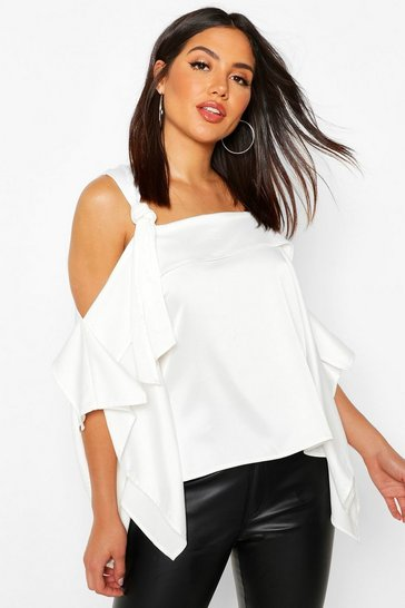 Womens White Satin Knot Detail Cold Shoulder Top