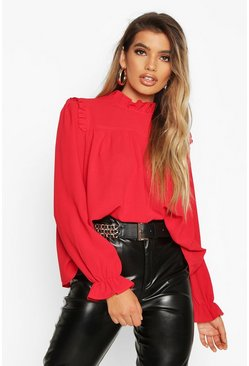 Womens Red High Neck Ruffle Detail Top