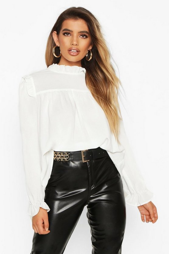 Womens White High Neck Ruffle Detail Top