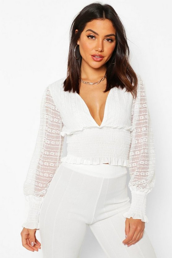 Womens White Lace Ruffle Plunge Shirred Blouse