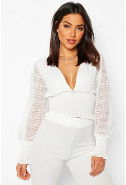 White Lace Ruffle Plunge Shirred Blouse