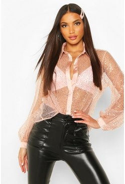 Womens Pink Sequin Organza Balloon Sleeve Shirt