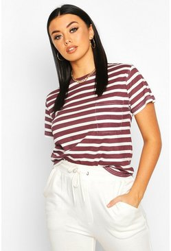 Womens Burgundy Stripe Ringer T-Shirt