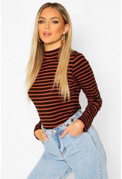Womens Rust High Neck Long Sleeve Stripe Top