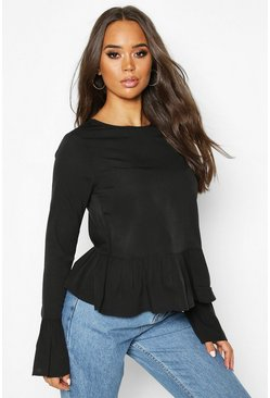 Womens Black Button Back Long Sleeve Frill Top