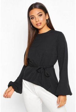 Black Asymmetric Balloon Sleeve Belted Blouse