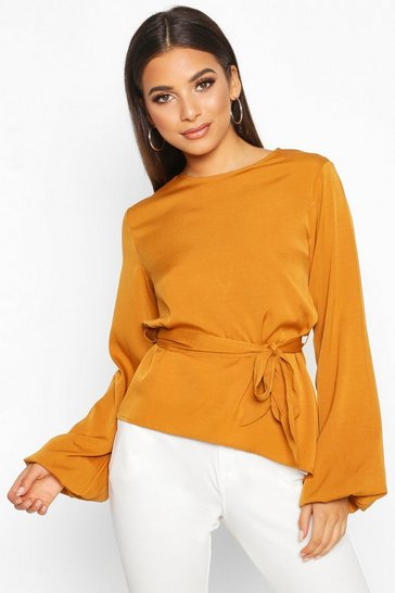 Mustard Asymmetric Balloon Sleeve Belted Blouse