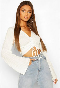 White Ruched Front Flared Sleeve Top
