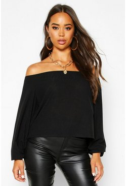 Womens Black Balloon Sleeve Ribbed Bardot Top