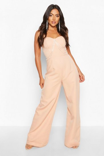 Womens Nude Diamante Trim Sweetheart Wide Leg Jumpsuit