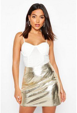 Gold Metallic A Line Mini Skirt