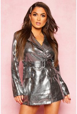 Womens Silver Metallic Tailored Blazer Playsuit
