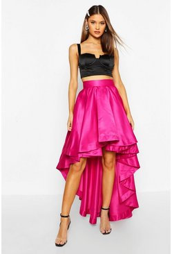 Womens Magenta Satin Dipped Hem Maxi Skirt