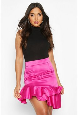 Womens Magenta Satin Drop Hem Mini Skirt