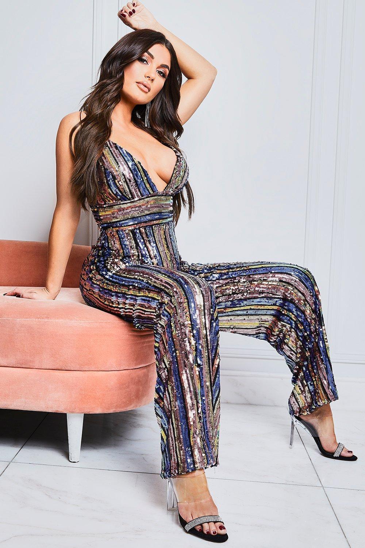 70s Clothes | Hippie Clothes & Outfits Womens Plunge Front Sequin Stripe Wide Leg Jumpsuit - Pink - 12 $45.00 AT vintagedancer.com
