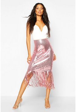 Womens Pink Sequin Tassel Midi Skirt