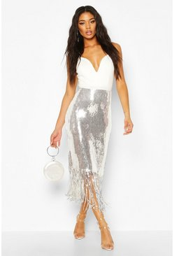 Womens Silver Sequin Tassel Midi Skirt