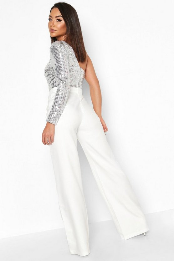 One Shoulder Sequin Wide Leg Jumpsuit