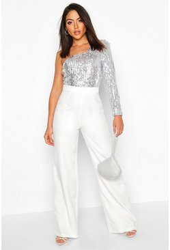 Silver One Shoulder Sequin Wide Leg Jumpsuit