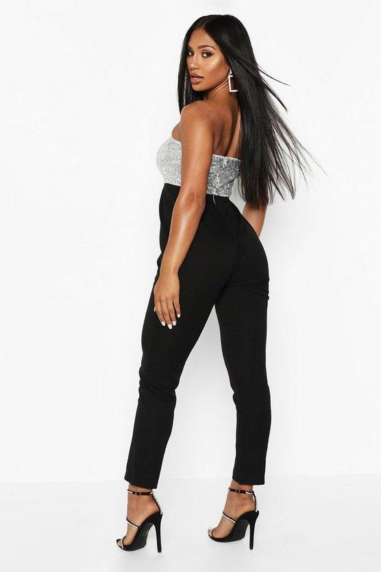 Sequin Bustier Slim Leg Jumpsuit