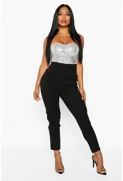 Womens Silver Sequin Bustier Slim Leg Jumpsuit